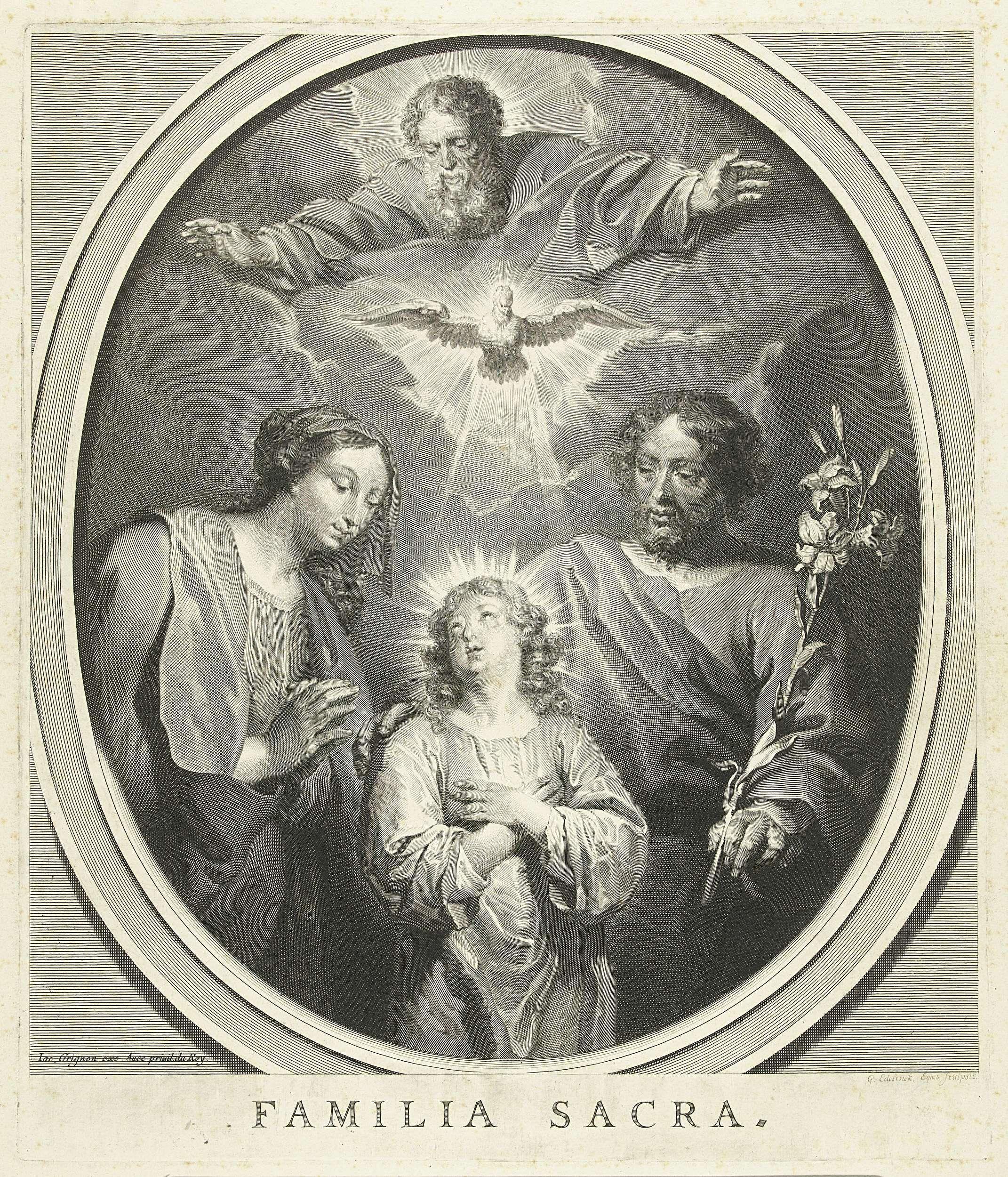 Gerard Edelinck   De heilige familie, Gerard Edelinck, Jacques Grignon, Lodewijk XIV (koning van Frankrijk), 1666 - 1707   Jozef met lelie en Maria kijken beiden naar Christus, die op zijn beurt omhoog kijkt naar God en de Heilige Geest in de vorm van een duif.