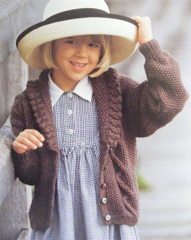 Girls Aran Cardigan Knitting Pattern PDF Childrens 24, 26 ...