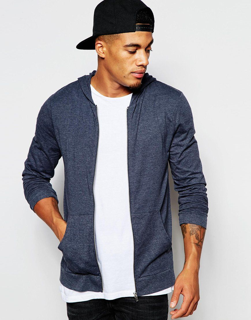ASOS+Light+Weight+Jersey+Muscle+Zip-Up+Hoodie+