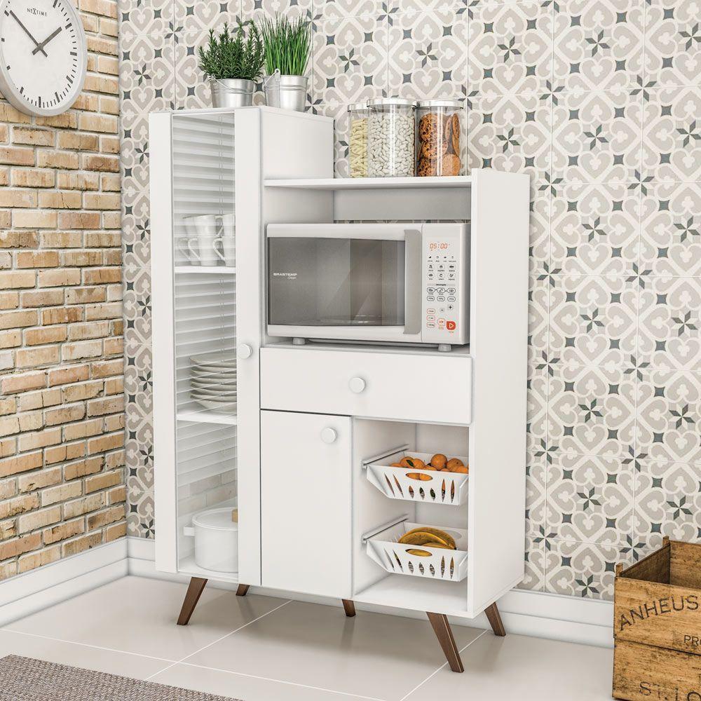Armario De Cozinha Multiuso 2 Portas 1 Gaveta Rt 3059 Branco