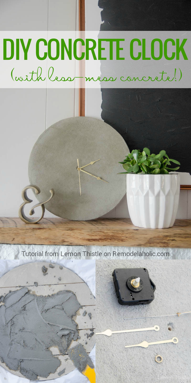 How To Make An Easy Diy Concrete Clock This Tutorial Shows You How To Get The Modern Industrial Concrete Look Without Having To Construct A Mol Diy Molding Diy Clock Concrete