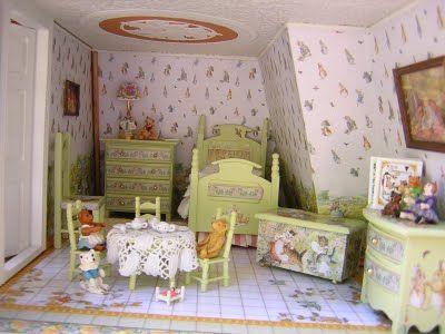 The Beatrix Potter Bedroom Of Key West Island Dollhouse By Robin Carey Via Www