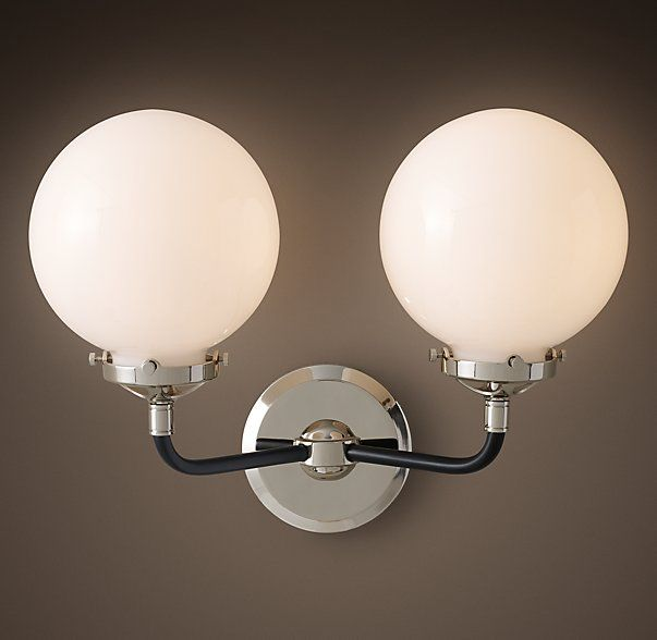 RHu0027s Bistro Globe Milk Glass Double Sconce:Inspired By Industrialism, Our  Globe Sconceu0027s Lines And Spheres Are Reminiscent Of An Urban Subway Map.
