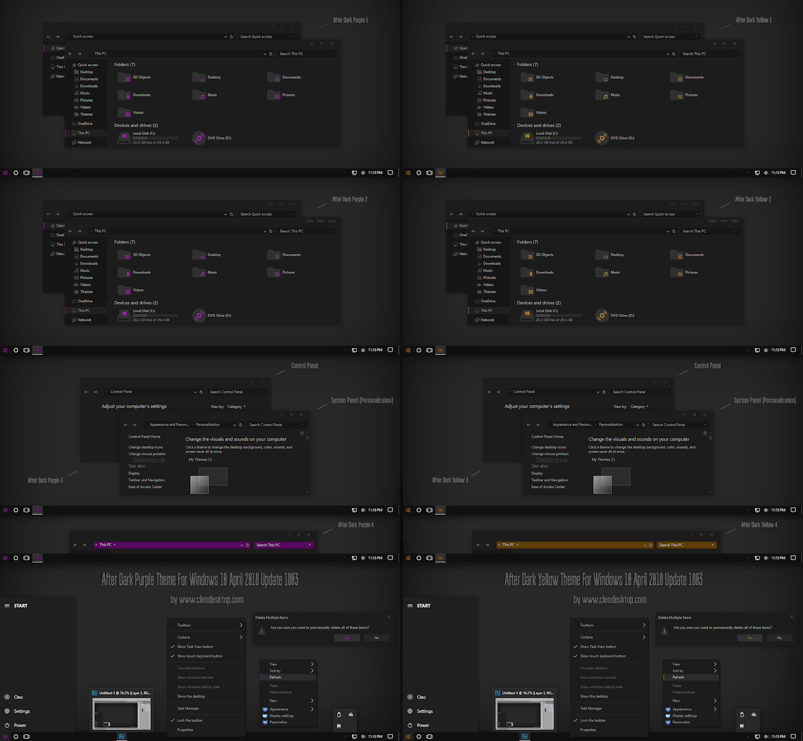 Windows10 Themes I Cleodesktop After Dark Purple and