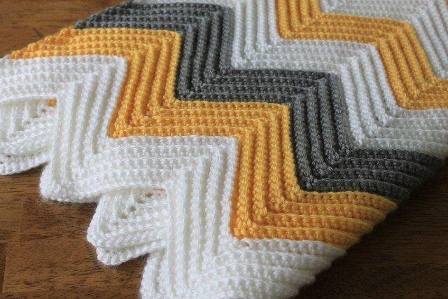 Mustard Yellow Chevron Baby Blanket Crochet Knit With Gray Stripes Retro Mod Baby Nursery Chevron Baby Blankets Baby Blanket Crochet Crochet Blanket
