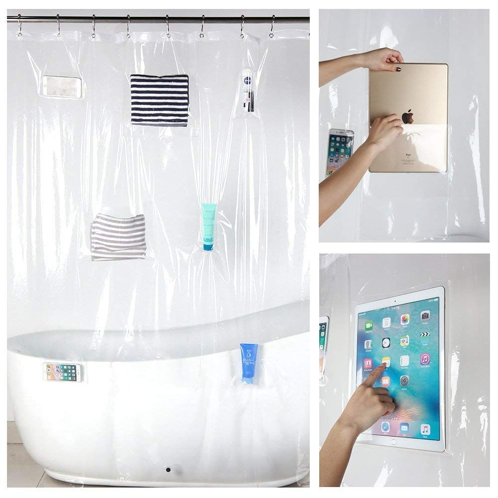 Premium Shower Curtain Liner With 8 Pockets Clear Bathroom Curtain