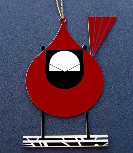Brass Christmas Ornament bird art COOL CARDINAL Charlie// Charley Harper