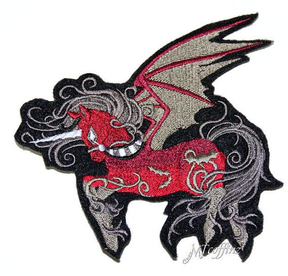 Red Gothic Pegasus Unicorn Iron On Embroidery Patch MTCoffinz