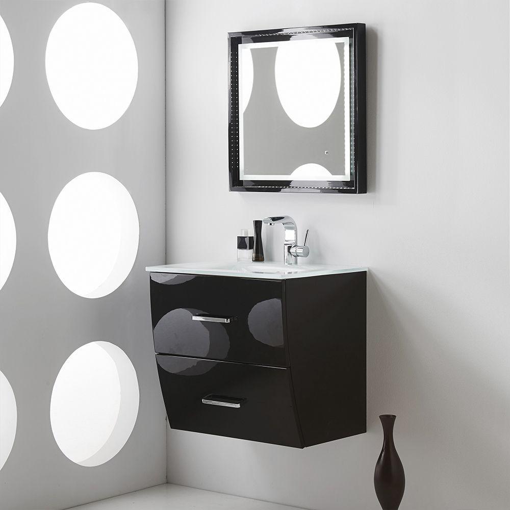 Fresca platinum wave inch glossy black modern bathroom vanity