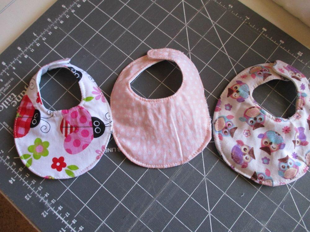 "Set of Three Cute Little Handmade Doll Bibs-Lady Bugs, Pink & Owl's 10-16"" Dolls"