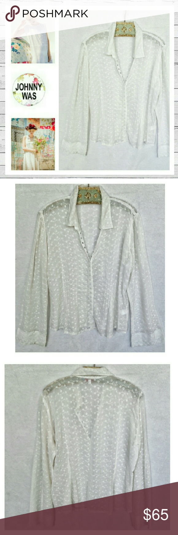 Johnny Was Sheer Eyelet Blouse Sz M Delicate and so feminine eyelet snap front blouse by Johnny Was. Beautiful detail. Nobody does it better than Johnny Was. Very good previously loved condition. Sorry no trades. Johnny Was Tops Blouses