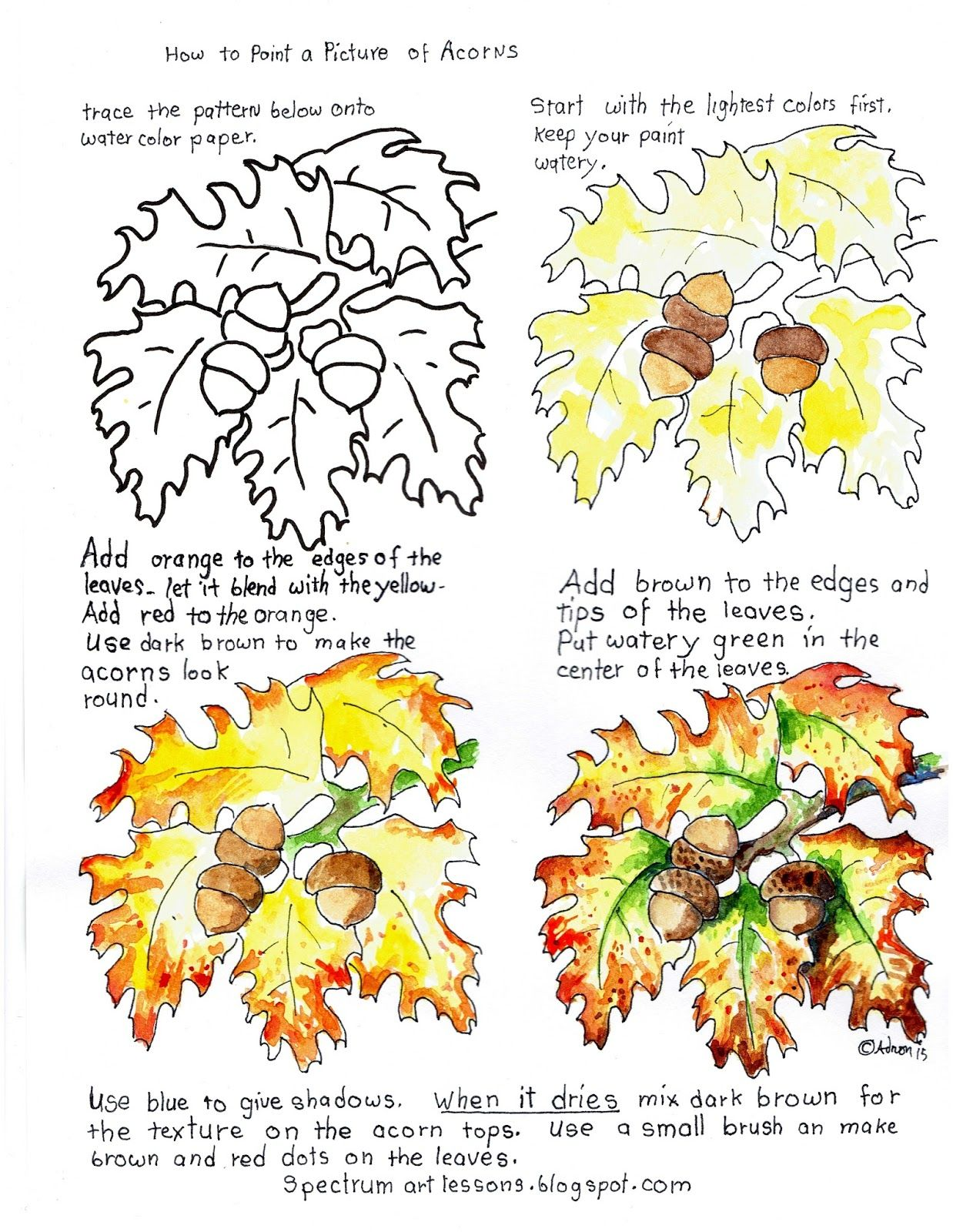 Printable How To Paint A Picture Of Acorns And Autumn