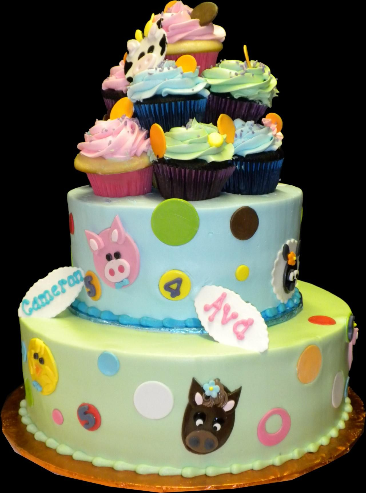 Cuddly Farm Birthday Cake Green And Blue Buttercream Iced