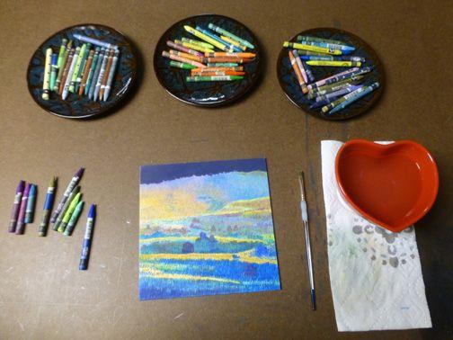 Cris Fulton watercolor crayon dream landscape in progress.