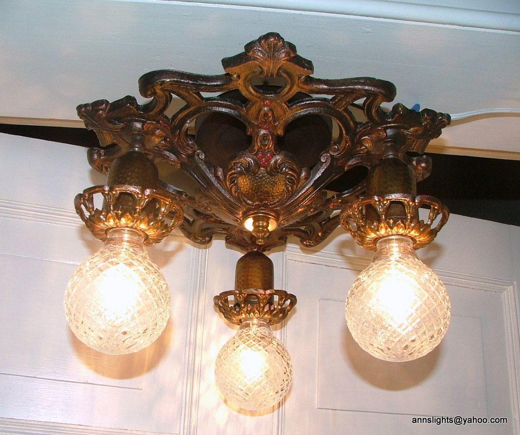 Ceiling Light Fixture Restored Vintage Chandelier Antique Lighting 1930 Cast Iron Art Deco Lamp 278 00 Iron Light Fixtures Vintage Lighting Antique Lighting