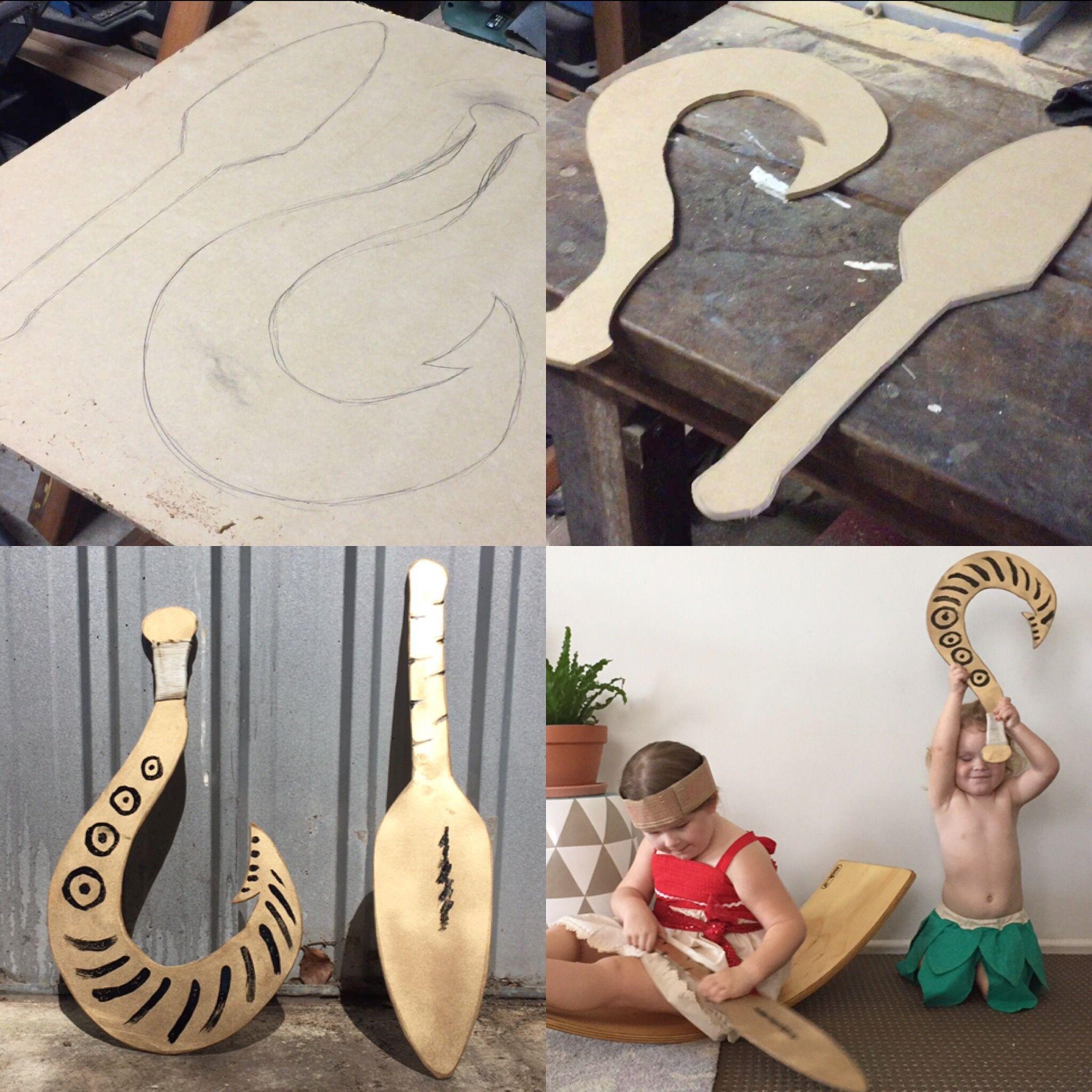 How to make a simple moana paddle and easy maui fish hook for Maui fish hook moana