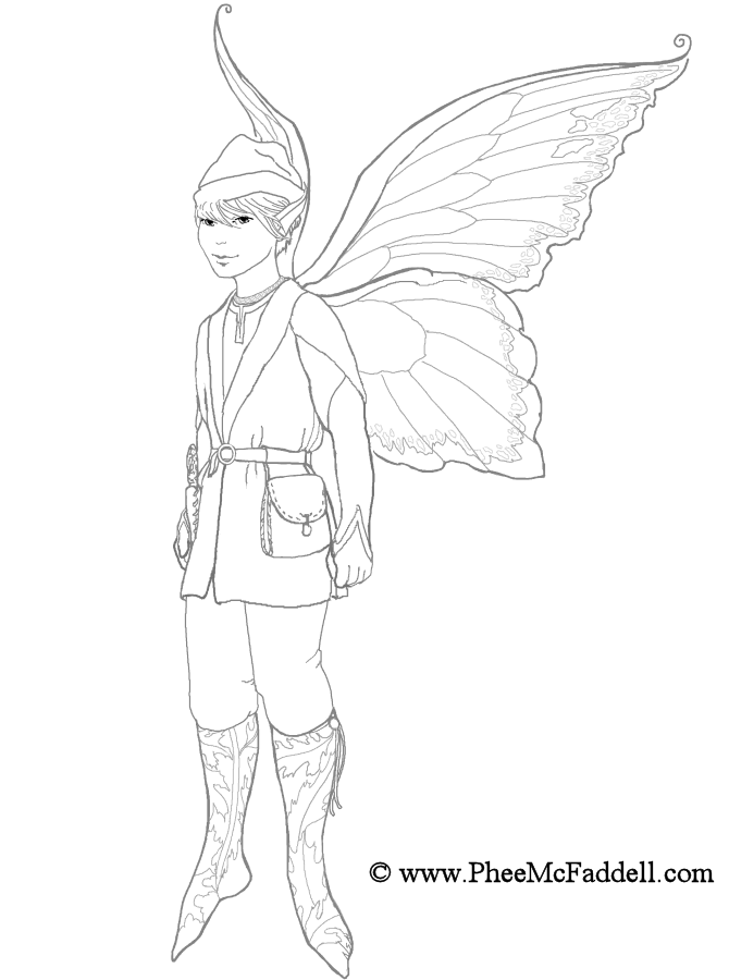 Boy Elf Coloring Page Fairy Drawings Coloring Pages Fairy Sketch