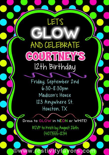 Neon Glow Birthday Party Invitations Kids Birthday In