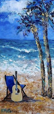 Palm Trees, Seascape, Coastal Art Painting,Guitar