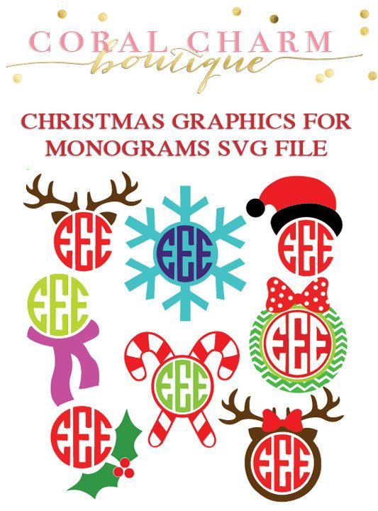 this is for one zipped folder with 8 monogram compatible graphics in the form of svg files once purchased you will be able to download the - Christmas Monograms