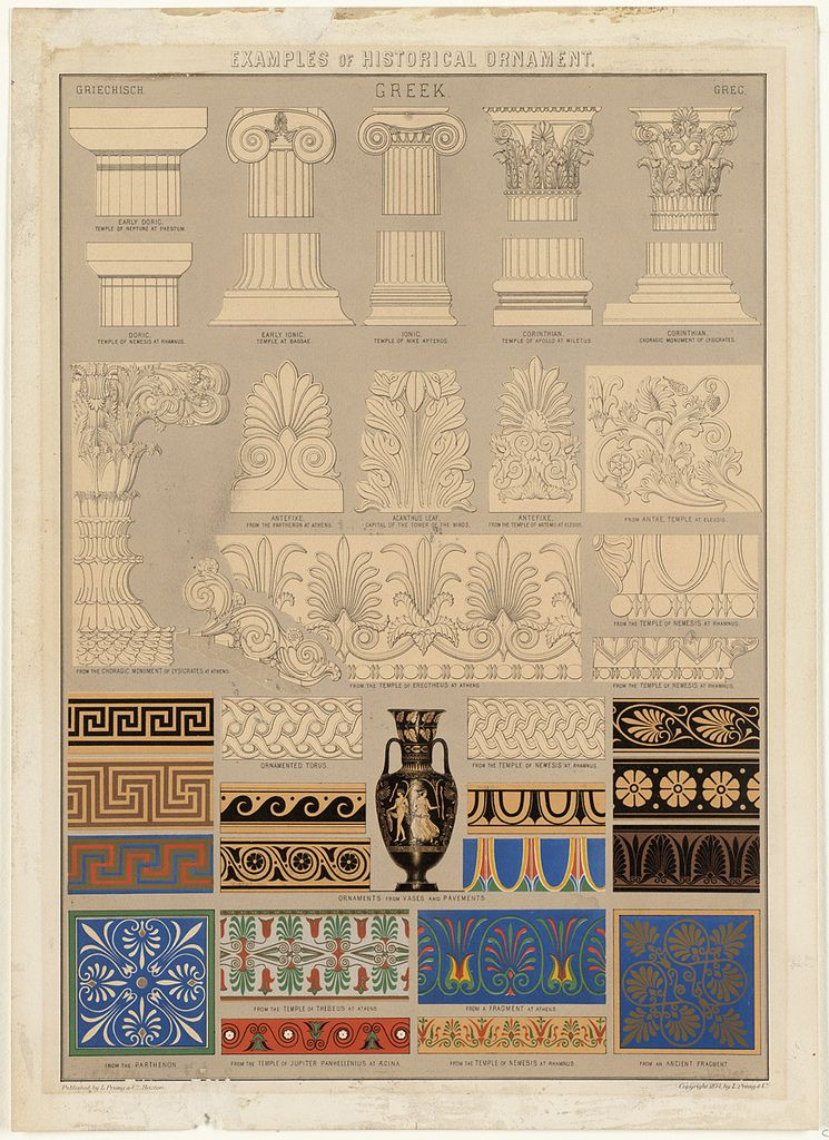 Historical Greek ornamentation and decoration elements
