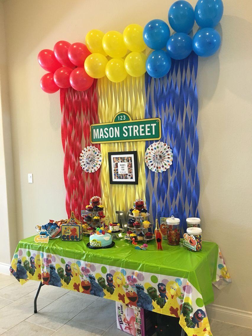Elmo First Birthday Yellow Sesame Street Party Ideas Seasame