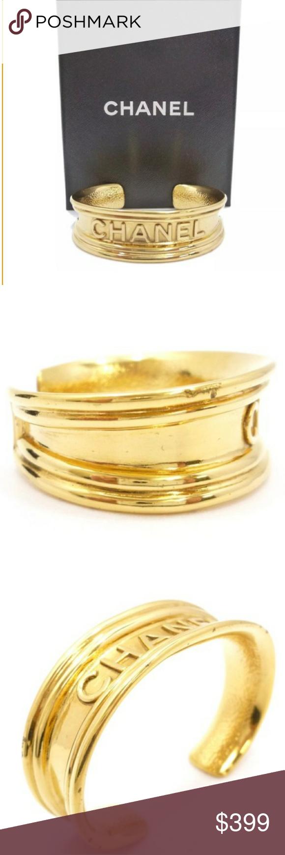 Vintage 1980's Chanel Gold Plated Cuff Bracelet