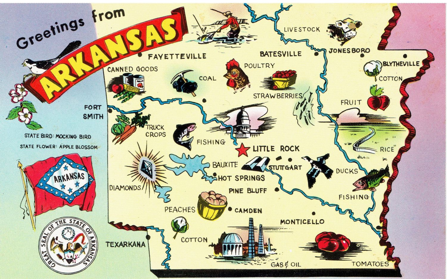 Greeting From Arkansas Map Postcard USA Pinterest - State of arkansas map