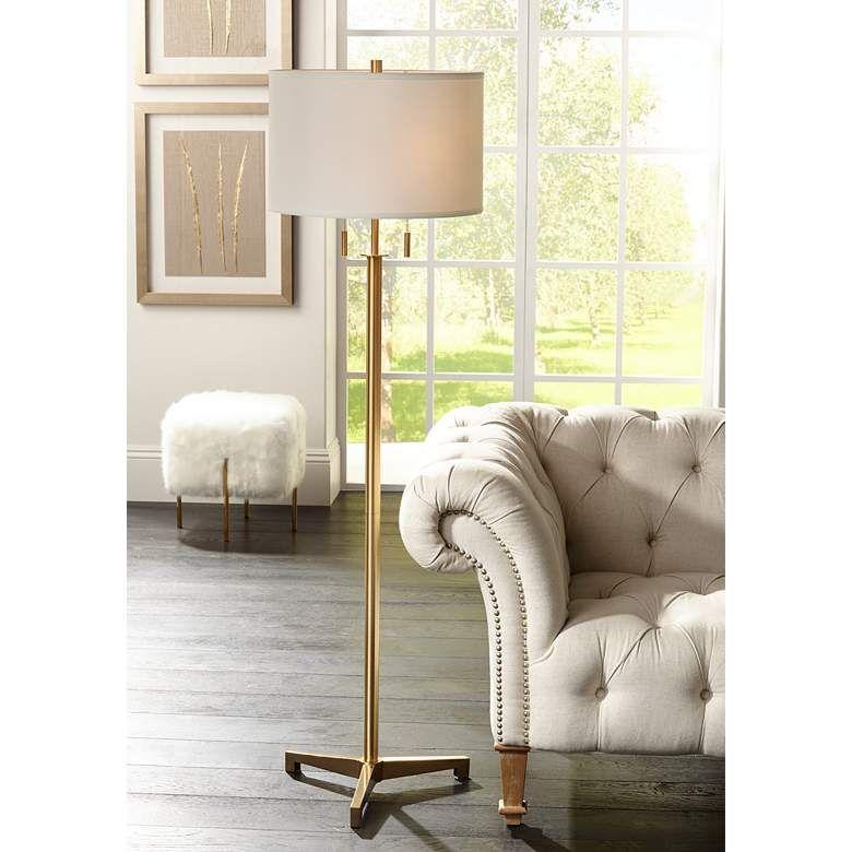 Possini Euro Encino Antique Brass Modern Tripod Floor Lamp 33d09 Lamps Plus Floor Lamp Brass Floor Lamp Modern Floor Lamps