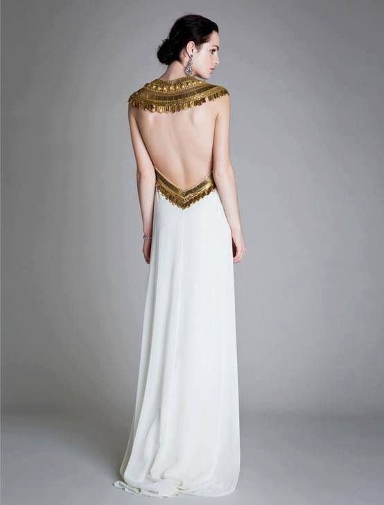Long ancient Egyptian flavored white dress Egyptian themed