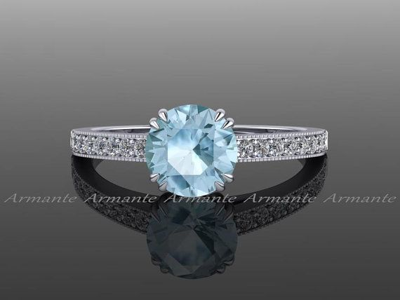 Aquamarine #Engagement #Ring #Diamond #and #Aquamarin #Solitaire ,  #Aquamarin #Aquamarine #d... #aquamarineengagementring
