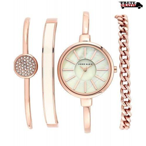 89790161c5a Kit Relógio e Pulseiras Feminino ANNE KLEIN AK 1470 Rose
