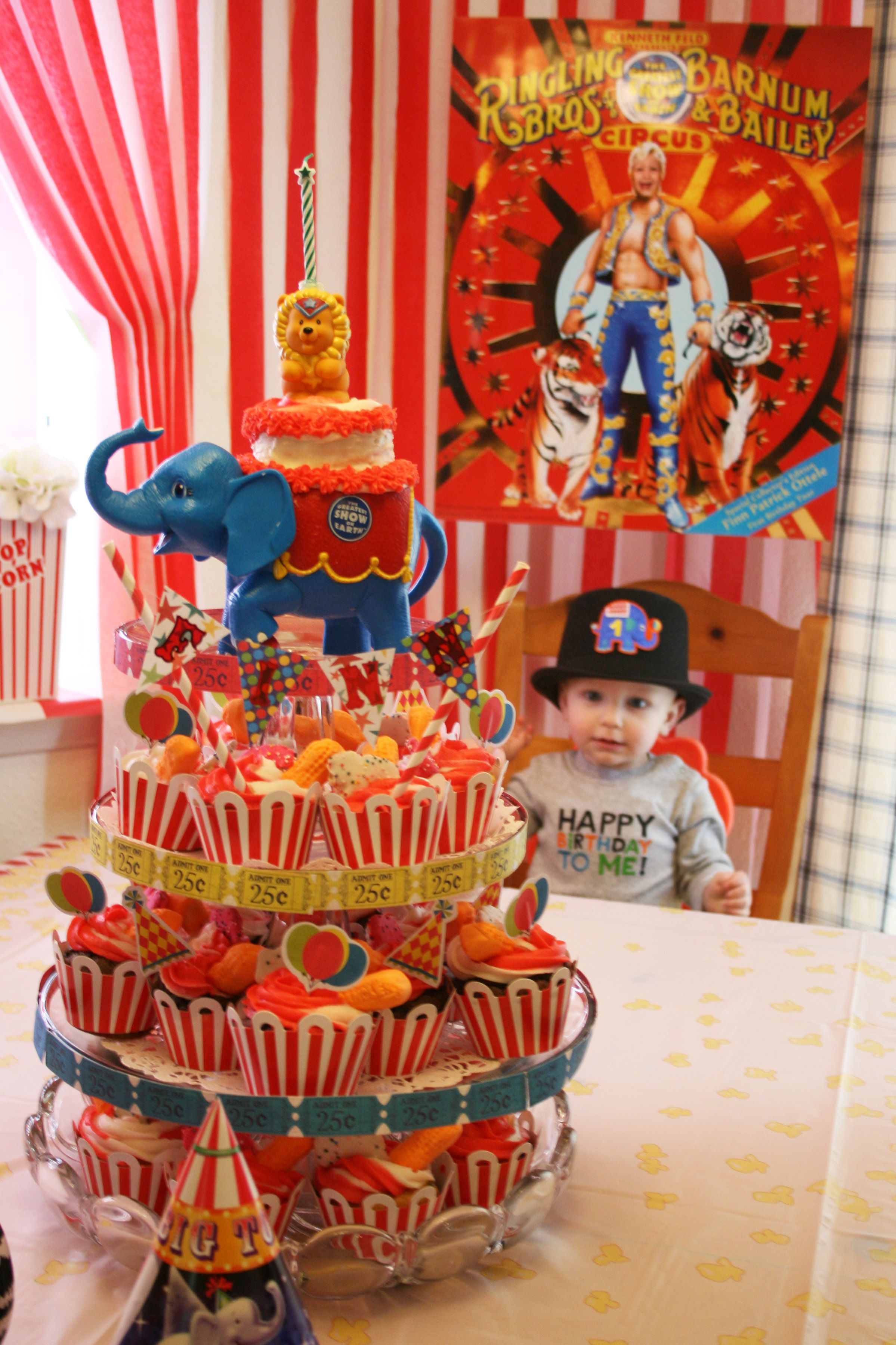 1St Birthday Circus Party  Topped Cupcakes With Circus Peanuts