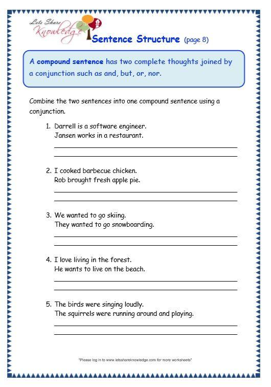 Sentence Structure Worksheet Sentence Structure Worksheets Sentence Structure Sentences English worksheet for 7th graders
