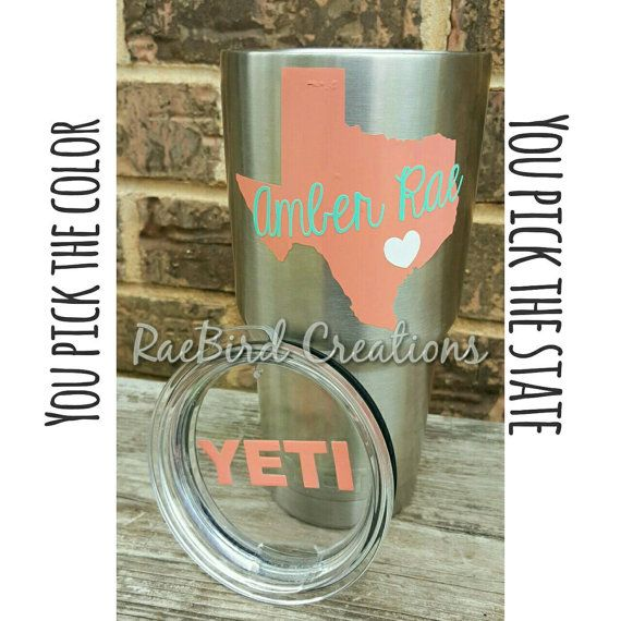Personalized Custom Decal Sticker For A Yeti Mug Rambler Or Cup Includes State Cursive Name And Lid Cute