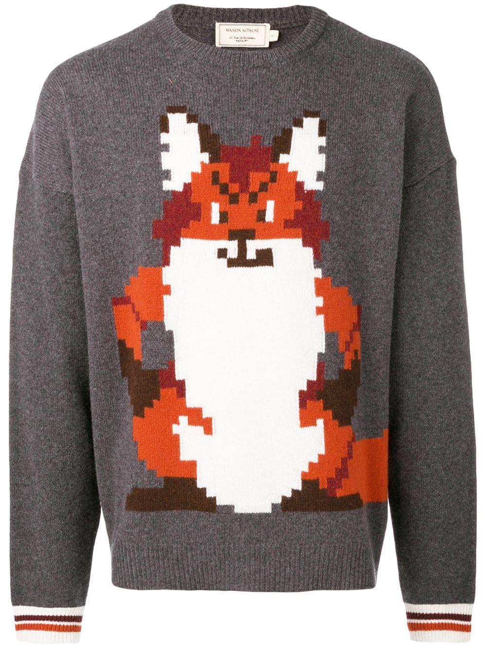 Maison Kitsune Maison Kitsune Roundneck Fox Maisonkitsune Cloth Fox Sweater Maison Kitsune Grey Sweater [ 1334 x 1000 Pixel ]