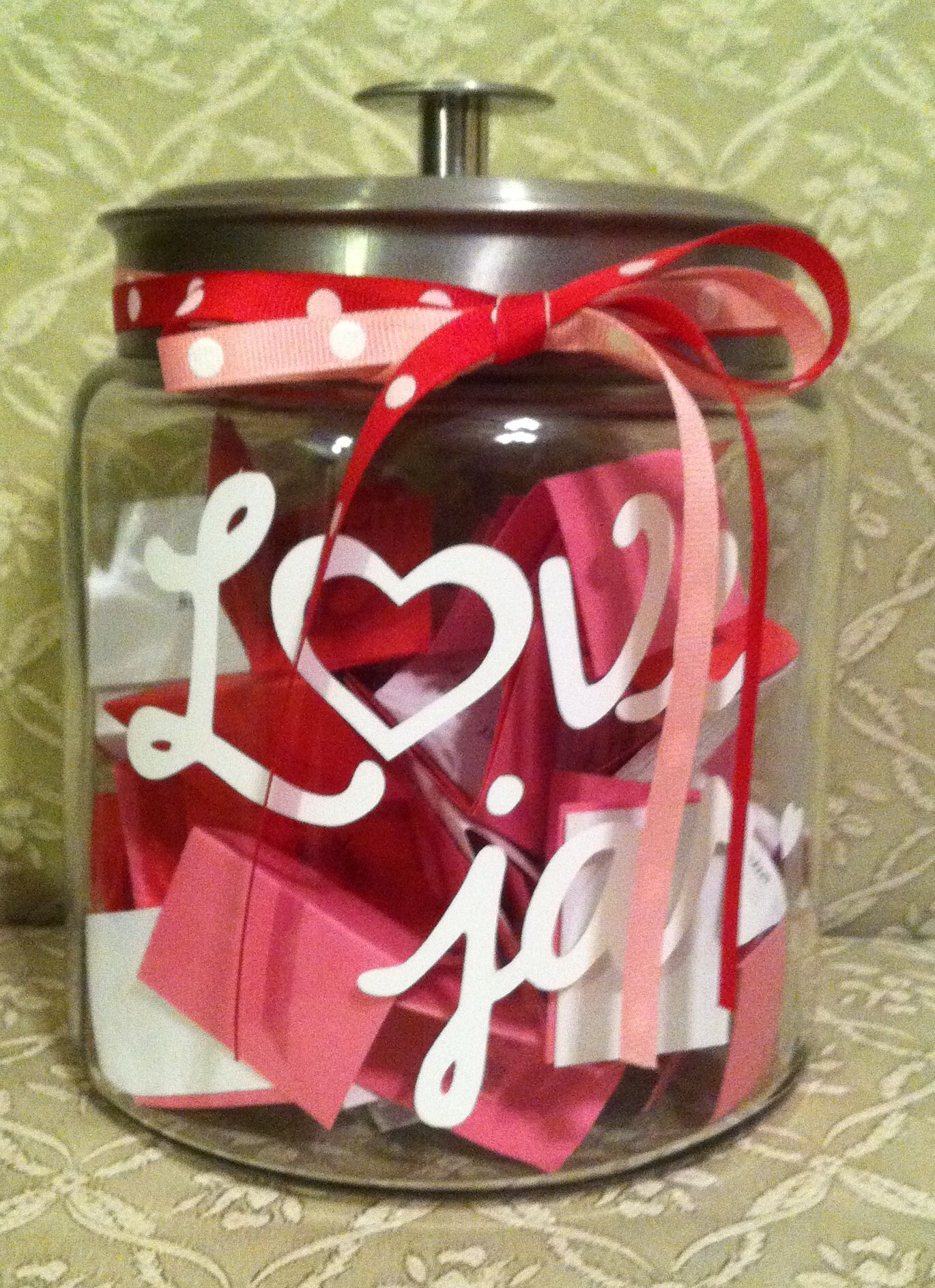 Cute a love jar for valentines day its filled with
