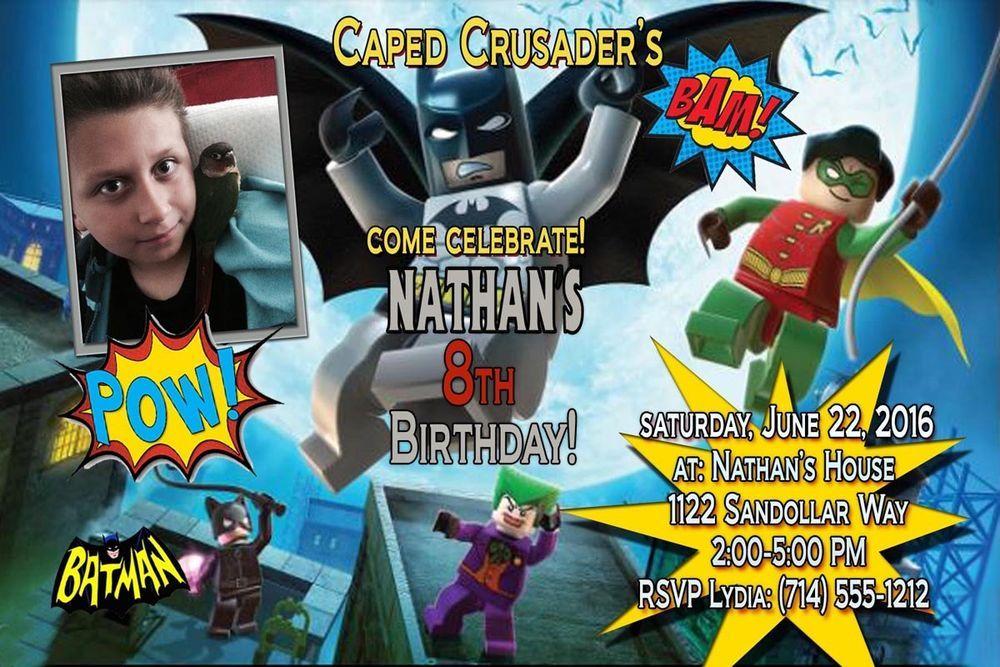 Personalized 4 X 6 Lego Batman And Robin Birthday Invitations