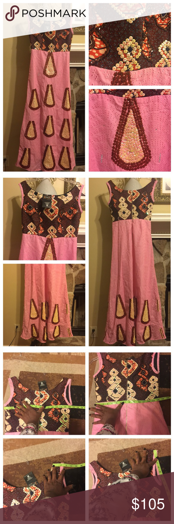 Elegant and Classic African Long dress—New New Elegant African Lace and English wax maxi gown/dress embellished with Rhinestones for a very classy look. Size 12 British measurement but for your true measurements please see photos. No trade, no hold, and no modeling. meticulously Handmade Dresses Maxi