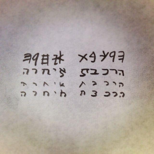 """The train was late"" written in 4 Hebrew scripts: Paleo-Hebrew, Assyrian, script, and Rashi"