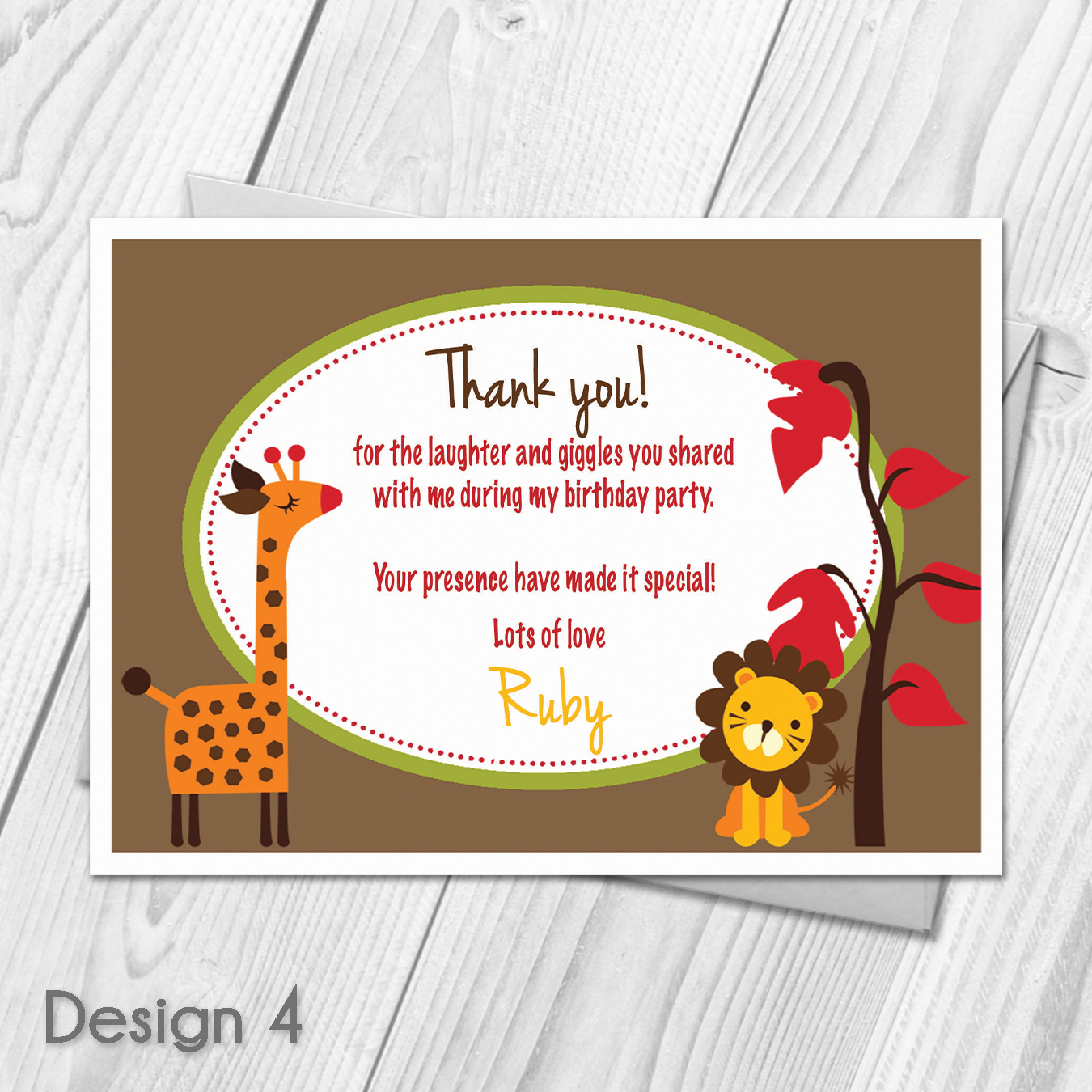 Custom Made With Your Own Personalised Text Photo Product Specifications Choose Your Desi Thank You Cards From Kids Childrens Birthday Party Thank You Cards