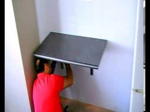 Como poner una mesa plegable en una pared mesa - Mesa estudio plegable ...