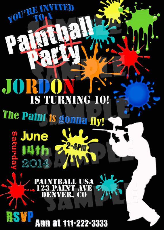 Printable PAINTBALL PARTY INVITATION By ShinySparklyParties Paintball Birthday Invitation