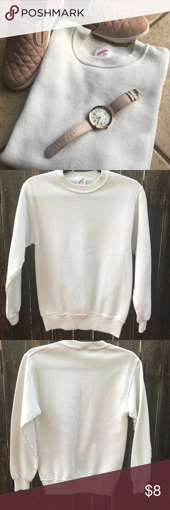 PRICE DROP ‼ Jerzees white sweater | White sweaters, Scoop neck ...
