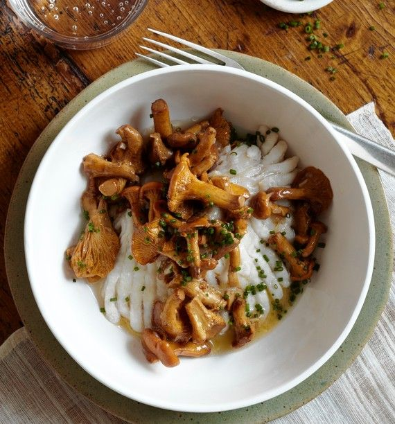 "Skate With Chanterelle Mushroom Ragout: ""IT'S A NATURAL, smart fusion,"" said chef Eric Ripert of his oven-poached skate lavished in an opulent, autumnal chanterelle mushroom ragout. October 12, 2012, WSJ.  http://online.wsj.com/article/SB10000872396390443635404578038973149495566.html#"