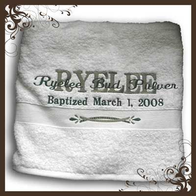 Baptism gift a towel with their name and the date they were baptism gift a towel with their name and the date they were baptized negle Image collections