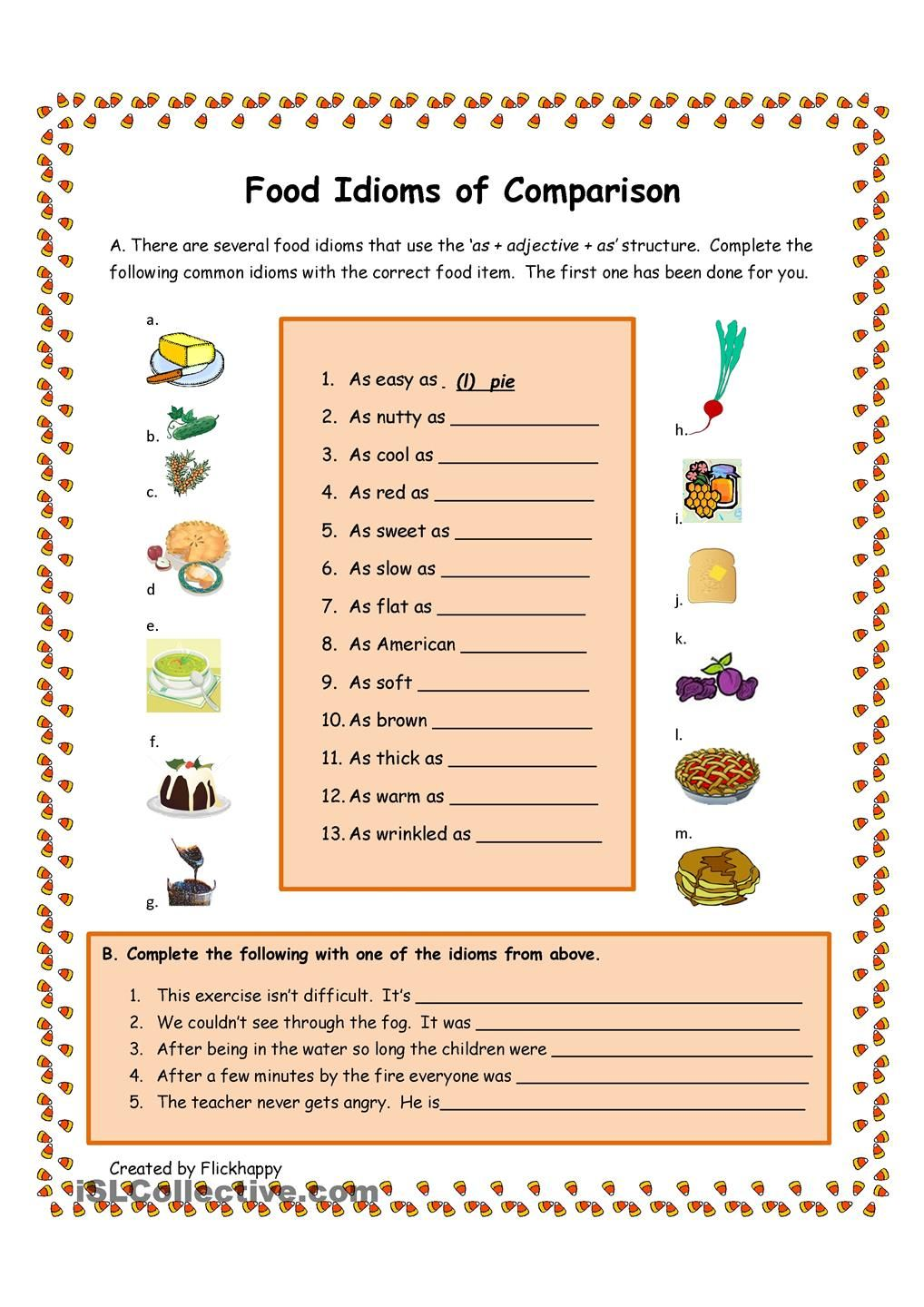 worksheet Adages And Proverbs Worksheets food idioms of comparison english proverbs expressions worksheet free esl printable worksheets made by teachers