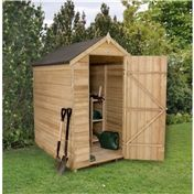 6ft x 4ft pressure treated overlap apex wooden garden shed windowless