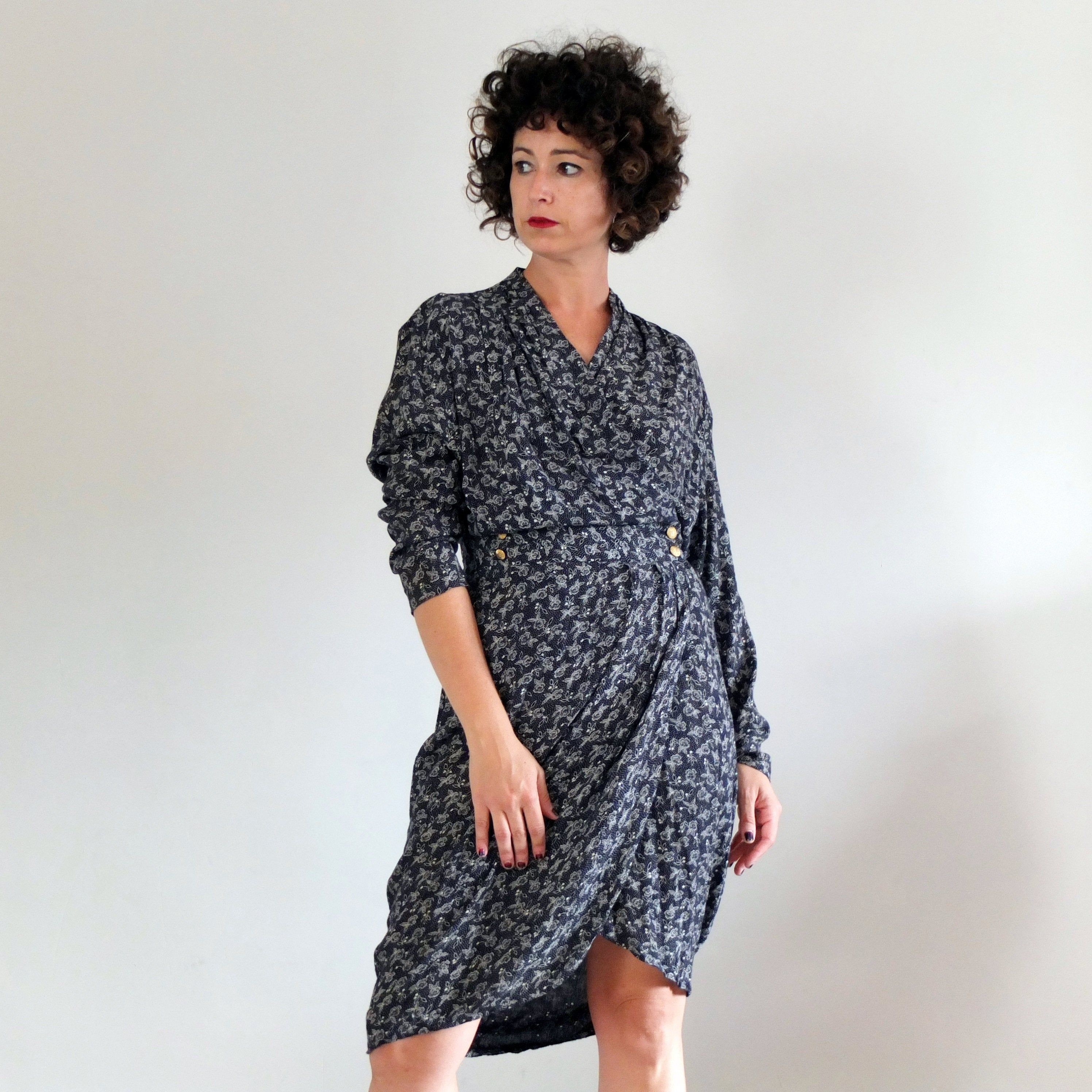 Vintage 90s Navy Floral Wrap Dress Vintage Old Stock New Etsy White Long Sleeve Wrap Dress Long Sleeve Wrap Dress Tulip Dress [ 2992 x 2992 Pixel ]