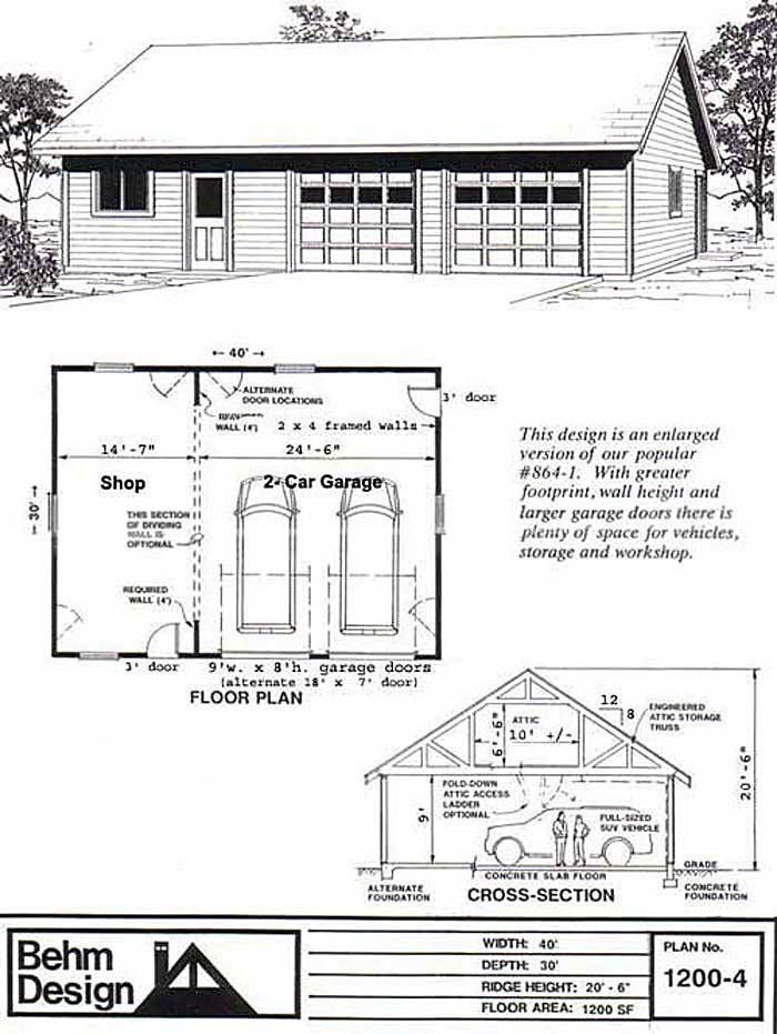 2 Car Attic Garage Plan 1200-4 - 40u0027 x 30u0027 By Behm Designs Best to - new blueprint for 3 car garage
